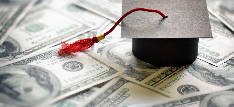college cap on money